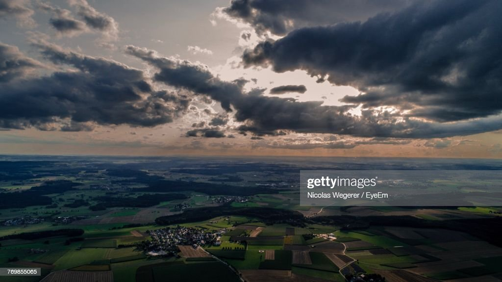 Aerial View Of Landscape Against Sky During Sunset : Stock Photo