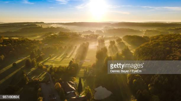 aerial view of landscape against sky during sunset - baden württemberg stock pictures, royalty-free photos & images