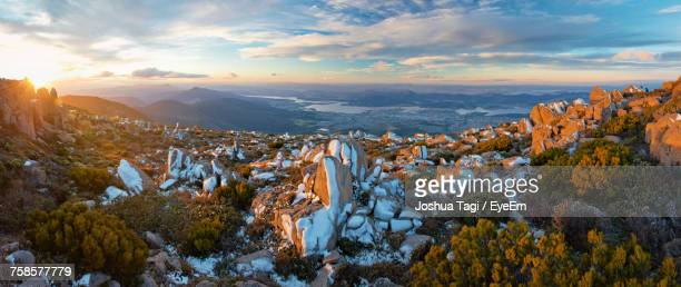 aerial view of landscape against sky during winter - hobart tasmania stock pictures, royalty-free photos & images