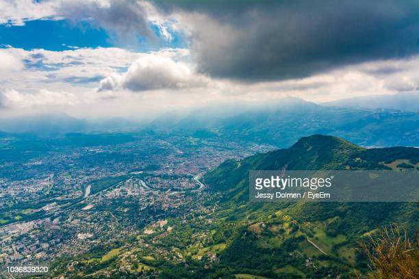 aerial view of landscape against sky - isere stock pictures, royalty-free photos & images