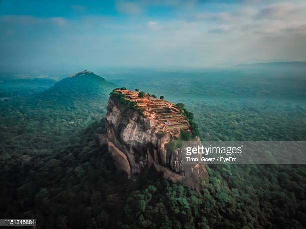 aerial view of landscape against sky - sigiriya stock photos and pictures