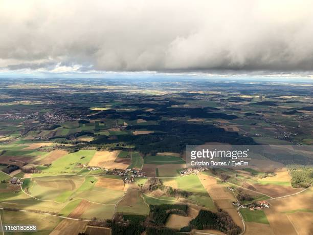 aerial view of landscape against sky - bortes stock photos and pictures