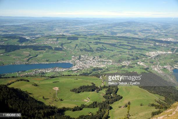 aerial view of landscape against sky - schwyz stock pictures, royalty-free photos & images