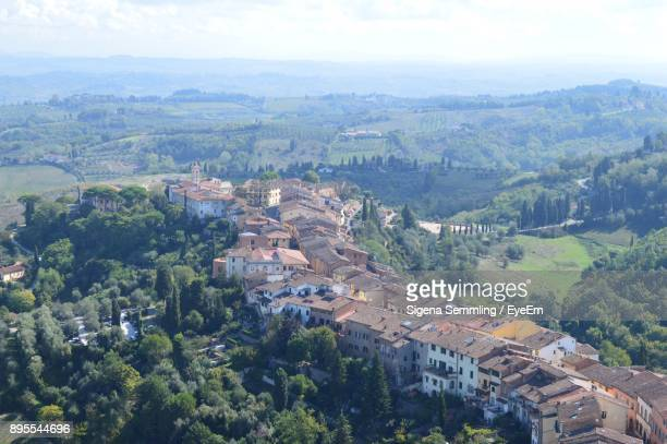 aerial view of landscape against sky - san miniato stock pictures, royalty-free photos & images