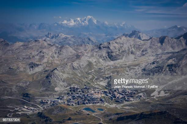 aerial view of landscape against sky - val thorens stock pictures, royalty-free photos & images