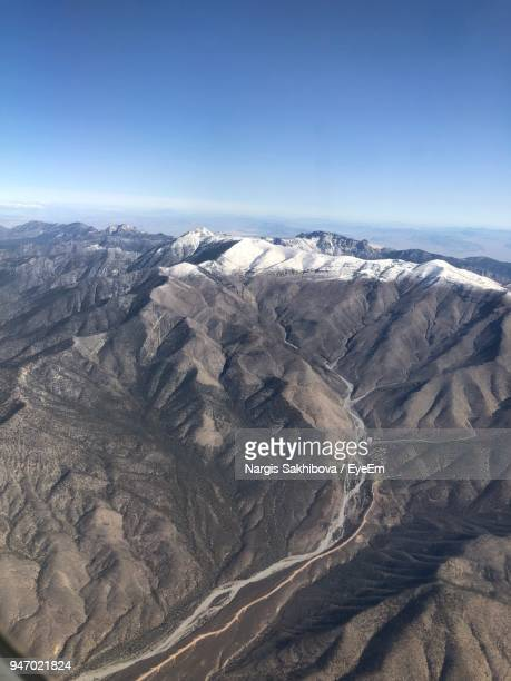 aerial view of landscape against sky - mt charleston stock photos and pictures