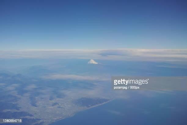 aerial view of landscape against sky,shizuoka,shizuoka prefecture,japan - 静岡市 ストックフォトと画像