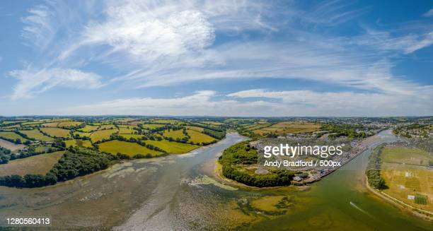 aerial view of landscape against sky,truro,england,united kingdom,uk - truro cornwall stock pictures, royalty-free photos & images
