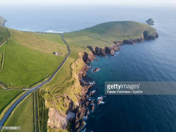 aerial view of landscape and sea - ireland stock pictures, royalty-free photos & images