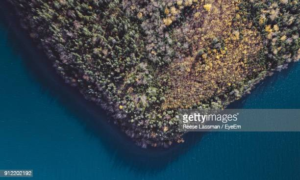 Aerial View Of Landscape By Lake