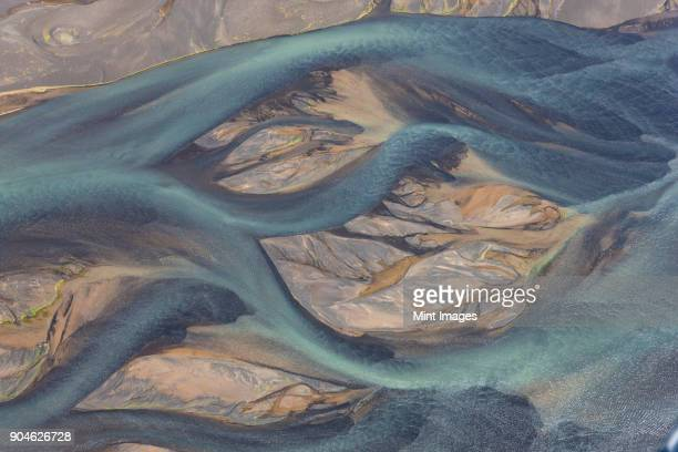 Aerial view of landscape with river coloured by glacial melt.
