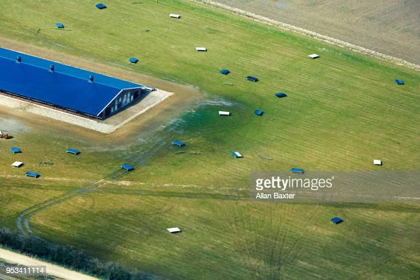 Aerial view of large free range chicken farm in Cambridgeshire