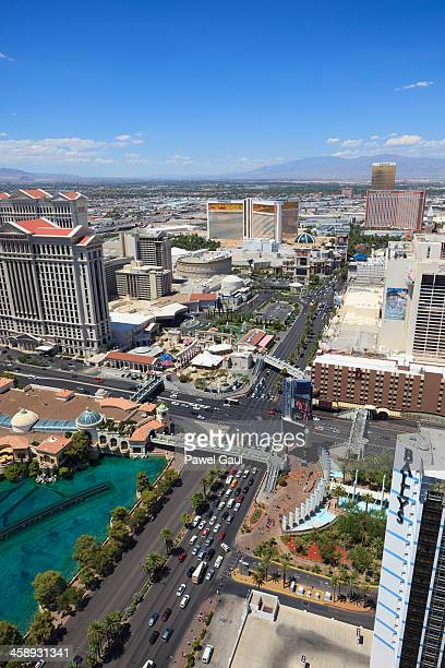 aerial view of las vegas boulevard and flamingo rd intersection - caesars palace las vegas stock pictures, royalty-free photos & images