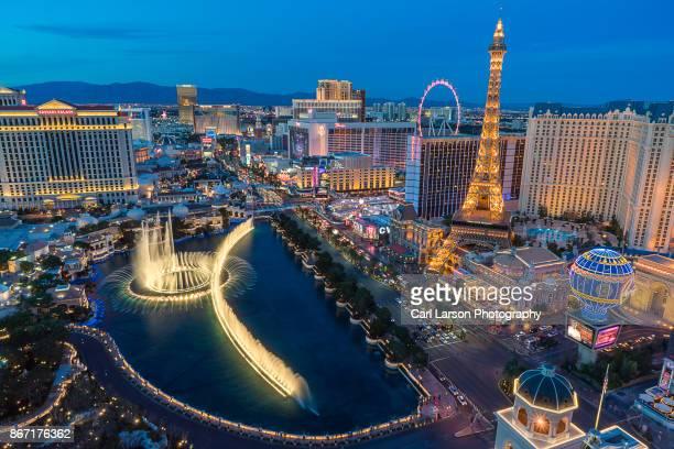 Aerial View Of Las Vegas Strip And Bellagio Fountain