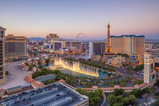 Aerial view of Las Vegas strip in Nevada 621843450