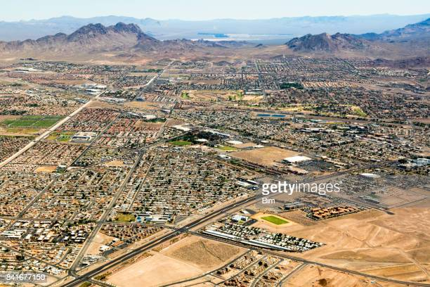 aerial view of las vegas suburbs, nevada, usa - nevada stock pictures, royalty-free photos & images