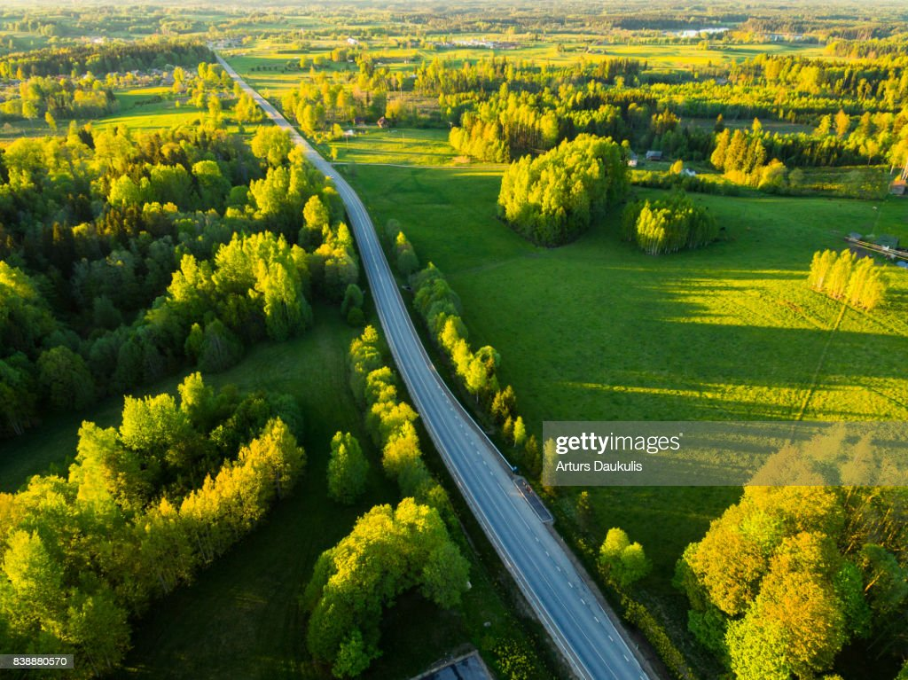 Aerial view of Latvia landscape in late spring : Stock Photo