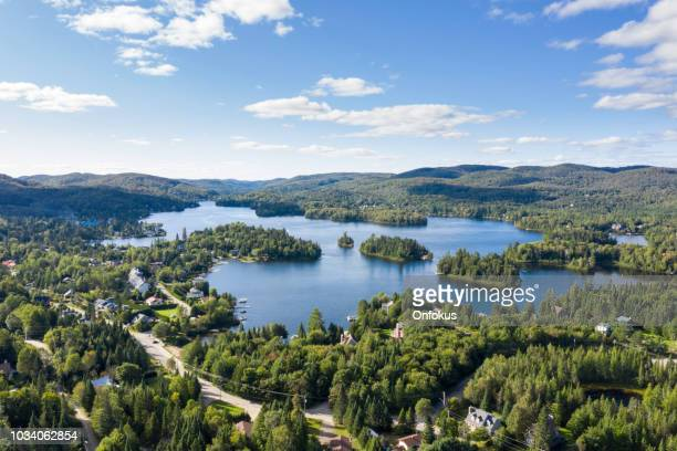 aerial view of laurentian's landscape, quebec, canada - quebec stock pictures, royalty-free photos & images