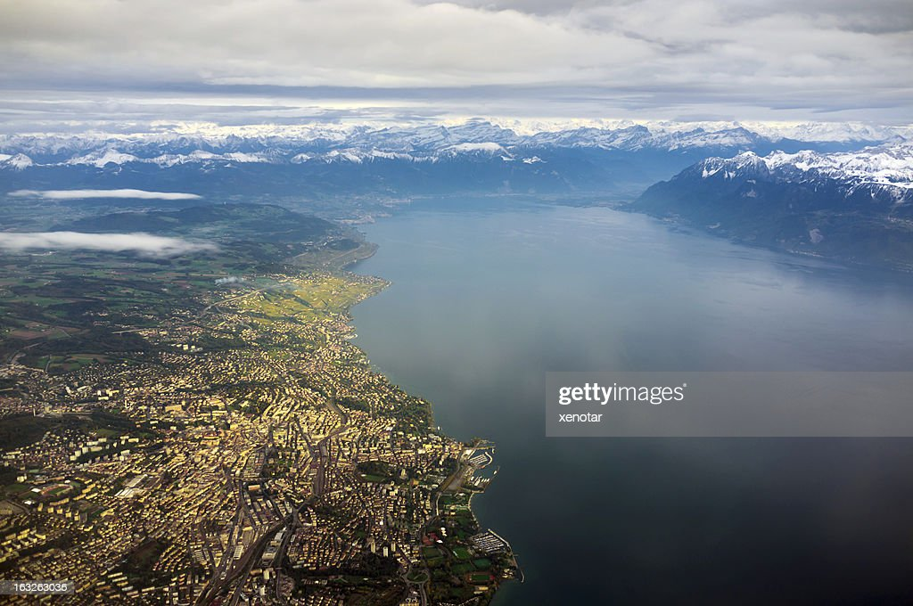 aerial view of Lausanne and Lac Leman : Stockfoto