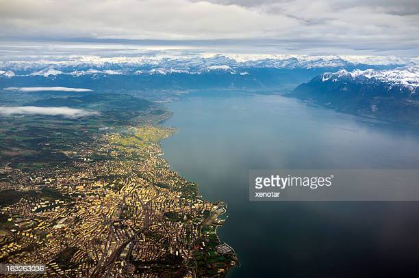 aerial view of lausanne and lac leman - meer van genève stockfoto's en -beelden