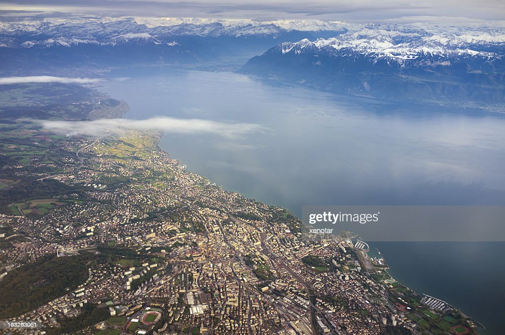 aerial view of Lausanne and Lac Leman : Stock Photo
