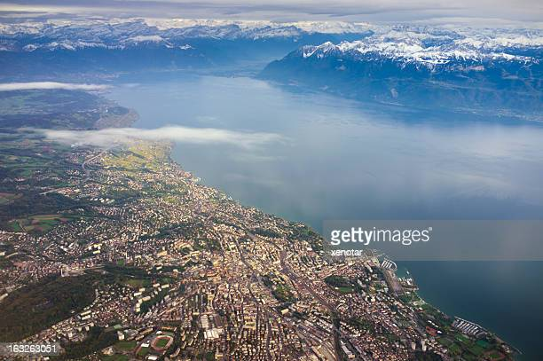 aerial view of lausanne and lac leman - vaud canton stock photos and pictures