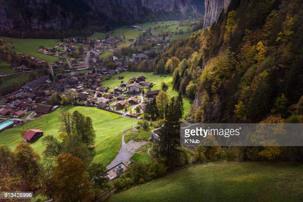 aerial view of Lauterbrunnen, small village, from cable in Switzerland