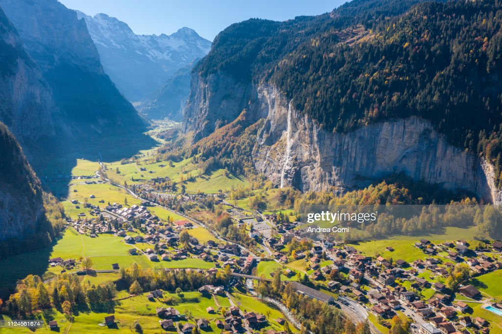 Aerial view of Lauterbrunnen village. : Stock Photo