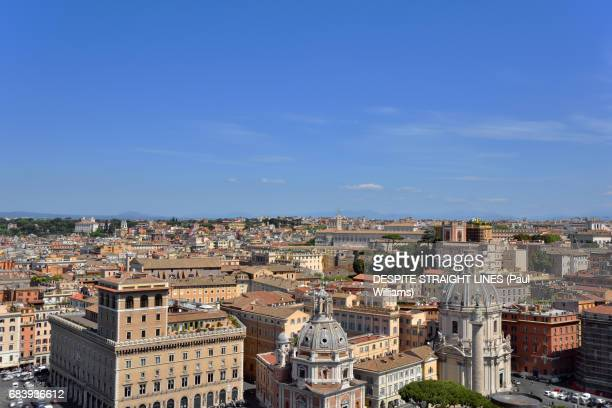 Aerial view of Le Domus Romane di Palazzo Valentini, Chiesa Valdese and Quirinal Palace in Rome