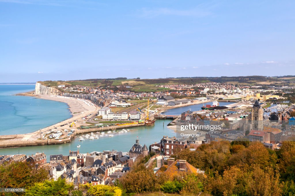 Aerial view of Le Tréport and Mers-les-Bains : Stock Photo