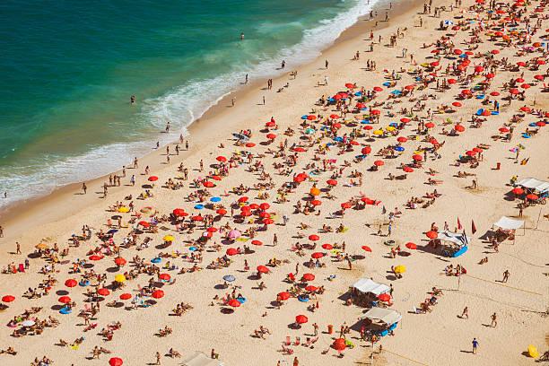 Aerial view of Leblon Beach in Rio de Janeiro.