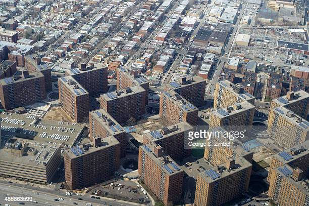 Aerial view of LeFrak City apartment complex Queens New York New York April 9 2014 Solar panels are visible on the roofs of the buildings