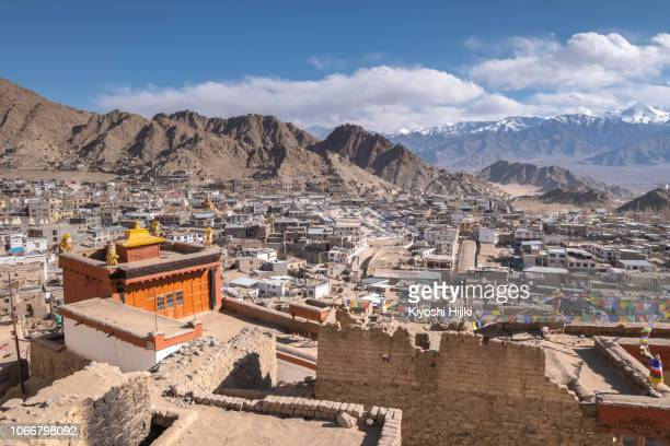 aerial view of leh city in ladakh, north india - kashmir stock photos and pictures