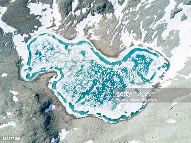 Aerial view of Lej Lagrev, Switzerland