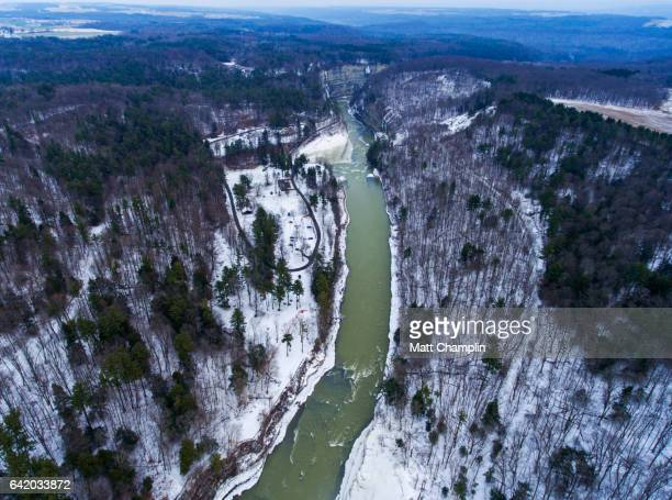 Aerial view of Letchworth State Park in Winter