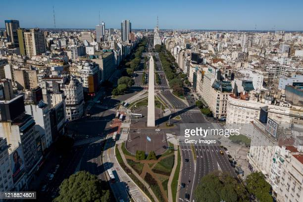 Aerial view of light traffic in 9 de Julio Avenue on April 14 2020 in Buenos Aires Argentina National government extended obligatory isolation until...