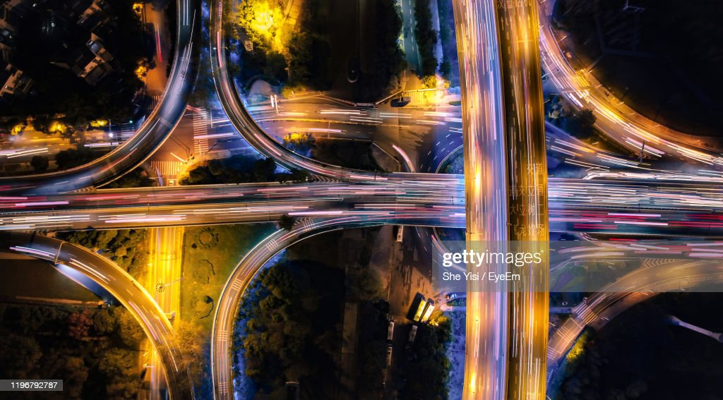 Aerial View Of Light Trails On Road At Night : Stock Photo