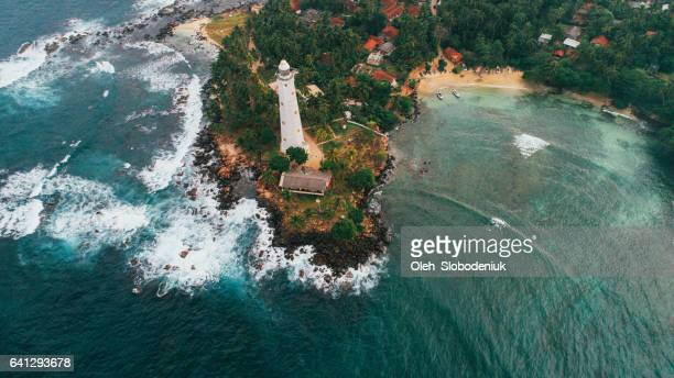aerial view of lighthouse in sri lanka - sri lanka stock pictures, royalty-free photos & images