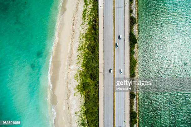 Aerial view of linear road and blue sea.