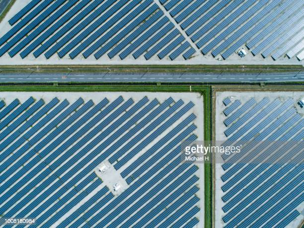 Aerial view of lined up solar panels