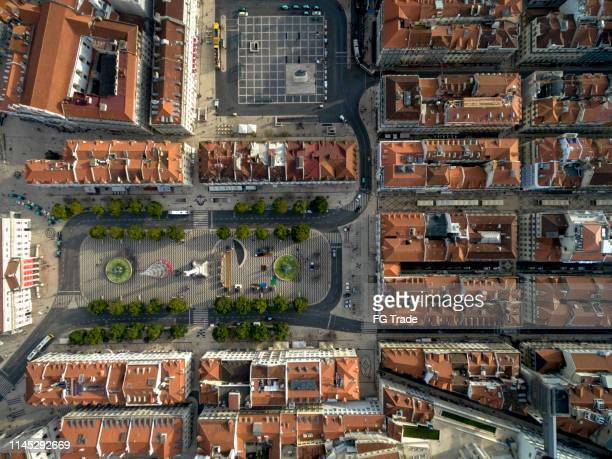 aerial view of lisbon, portugal - lisbon stock pictures, royalty-free photos & images