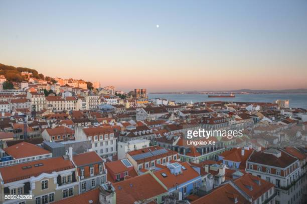 Aerial view of Lisbon urban skyline and Tagus River from Santa Justa lift, Portugal