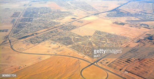 aerial view of liwa desert - abu dhabi stock photos and pictures