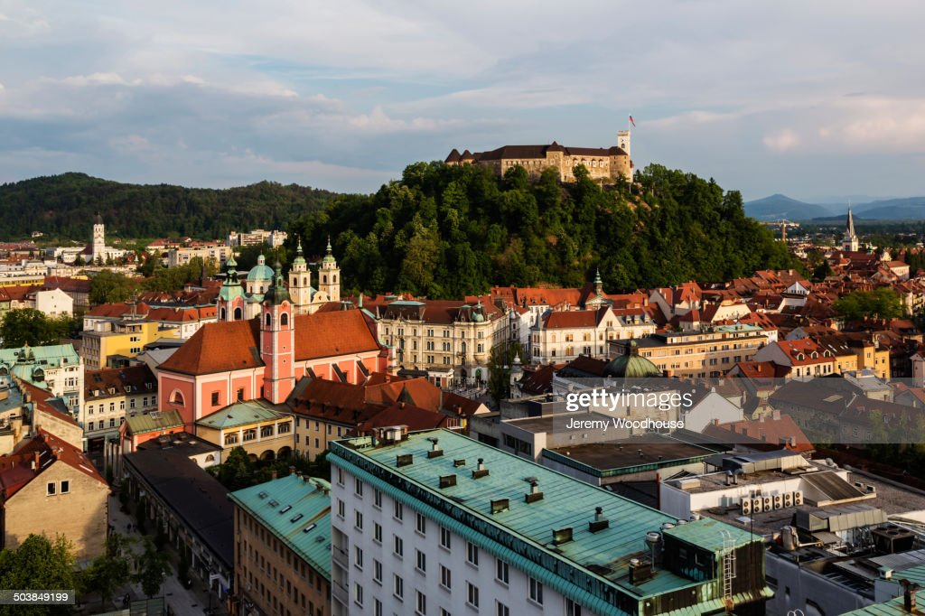Aerial view of Ljubljana cityscape, Ljubljana, Slovenia : Stock Photo