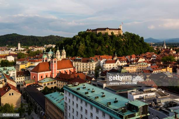 aerial view of ljubljana cityscape, ljubljana, slovenia - リュブリャナ ストックフォトと画像