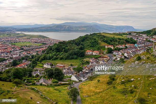 aerial view of llandudno and conwy bay - llandudno wales stock pictures, royalty-free photos & images