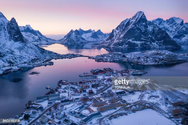 aerial view of lofoten in winter - www picture com stock photos and pictures