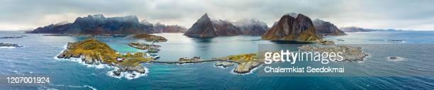 aerial view of lofoten, norway - panoramic fotografías e imágenes de stock