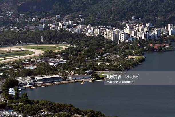 Aerial view of Logoa Stadium site of the rowing venue on Lagoa Rodrigo de Freitas on February 5 2016 in Rio de Janeiro Brazil