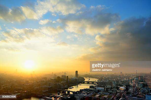 aerial view of london at sunset - west end london stock photos and pictures